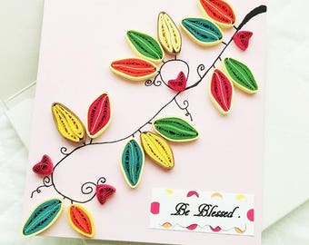 Set of 4 Be Blessed Quilled Card