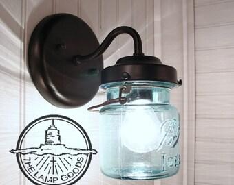 Vintage BLUE Canning Jar SCONCE Light - Mason Jar Wall Sconce Flush Mount Lighting Fixture Farmhouse Chandelier Pendant Ceiling by L&Goods & Vintage BLUE Canning Jar SCONCE Light Mason Wall Flush Mount