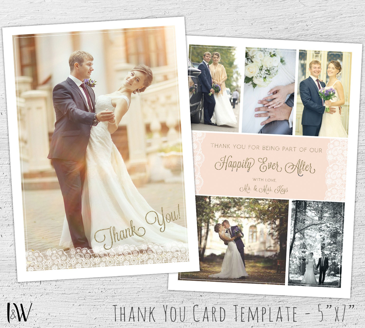 Wedding thank you template photo card template wedding thank zoom junglespirit Images