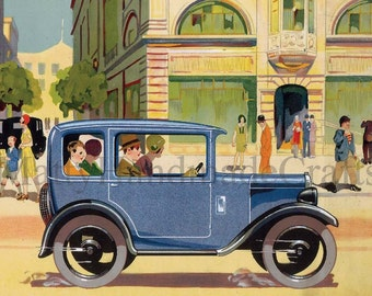 Austin Wydor, 1930s, Blue Car,  Advertising Print