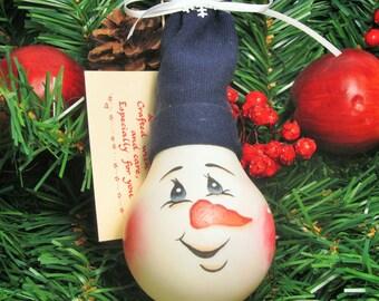 Hand Painted Snowman/ Handmade Light Bulb Ornament/ Recycled Light bulb/ Handmade Christmas Ornaments/Handmade Snowmen/ By Watt A Switch