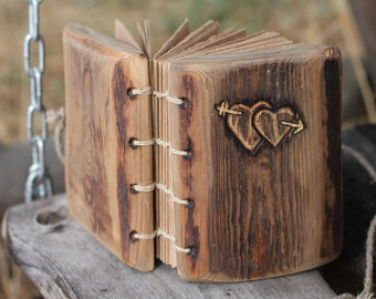 Wedding guest book wood rustic wedding guest book with two hearts and arrow bridal shower engagement anniversary