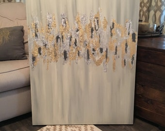30x40 Abstract Gold/Silver Leaf Painting