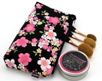 small pouch, zip pouch, small zipper pouch, lipstick pouch,Cherry Blossoms Black