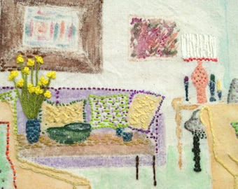 The Living Room, Hand Embroidery, Embroidery Art, Wall Decor, Interiors, Embroidered Interior, Mixed Media, Watercolours, Housewarming