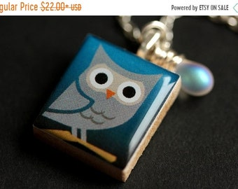 MOTHERS DAY SALE Night Owl Necklace. Gray Owl Necklace. Scrabble Tile Necklace with Glass Teardrop. Bird Necklace. Scrabble Necklace. Handma