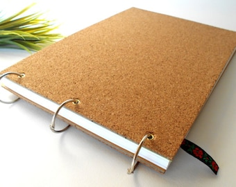 Cork sketchbook journal with 100 pages- A4, A3, A5 ring rustic handmade sketchbook- personilized journal with metal album rings binding
