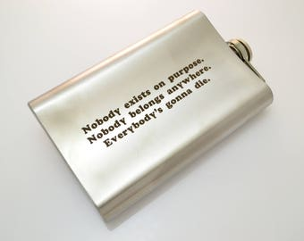 Rick and Morty  inspired Flask CAN BE Personalized Custom Gift Nobody exists on purpose Everybody's gonna die (6 oz,7 oz,8 oz,9 oz,10 oz)