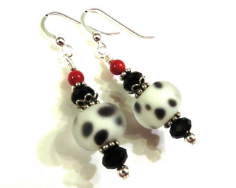 Black & White Spotted Lampwork Earrings With Black Swarovski Crystals, Black Earrings, Red Earrings, Lampwork Jewelry, Red Pearl Earrings