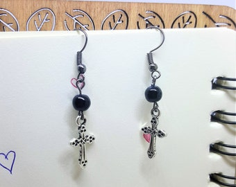 Simple gothic earrings with bead and cross, elegant earrings, cute earrings, beaded earrings, corporate goth, pastel goth, gothic lolita