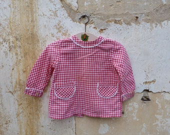 Vintage  1960/60s French  Gingham red & white cotton  baby  dress  / size 6month/1 year
