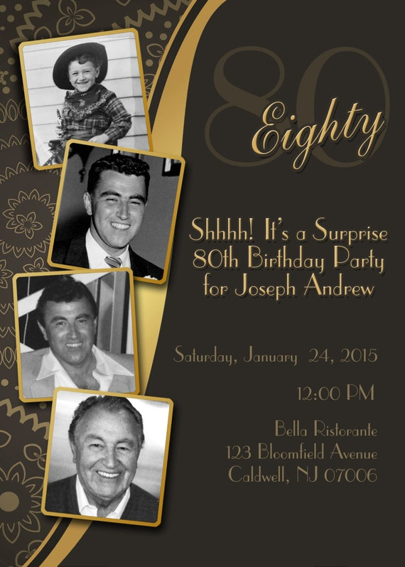 Diy print birthday invites adult 80th birthday invitation stopboris Gallery