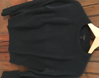 VTG J Crew Forrest Green Wool / Cashmere Waffle Sweater (S/M)