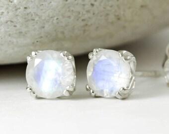 Genuine Natural Rainbow Moonstone Stud Earrings,Pair 4mm 5mm 6mm Solid 925 Sterling Silver Studs, June Birthstone, Blue Rainbow,Tulip Studs