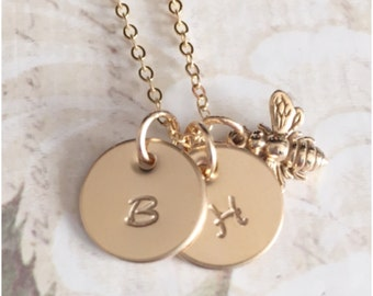 Two Initial Necklace - Gold Two Disc Necklace With Bumble Bee - Hand Stamped Initial Disc on High Quality Chain - Not Plated Hypoallergenic