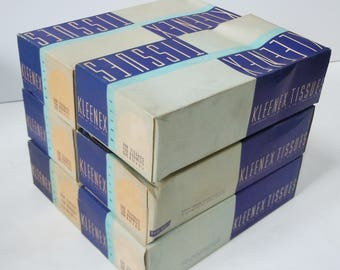 Kleenex Tissues / Old New Unused Stock / 6 Blue  Boxes / Tissues from the past!