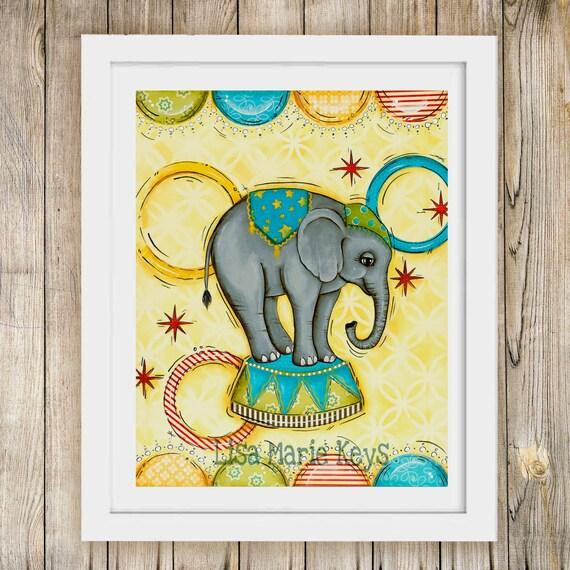 Nursery Wall Art Circus Elephant Art Print Children\'s