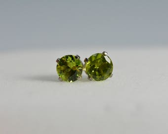 peridot stud designs birthstone color gold white earrings stone gallery handmade carat