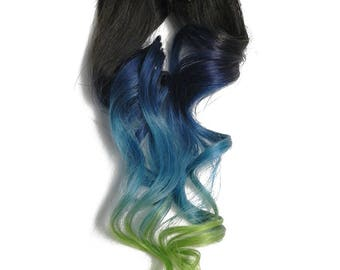 "READY TO SHIP 12"" Clip in Colorful Color Melt Ombre Human Hair Extensions Dark Blue Light Blue and Green tips"