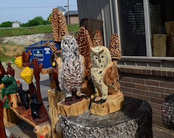 Hand Carved Barn Owls