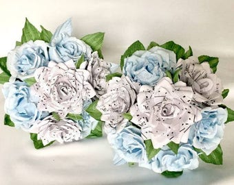 Wedding flowers, bridal flower, paper flowers,music notes rose,bouquet music paper,paper flower rose,music paper,notes music