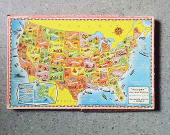 Vintage 1970s Rare Wooden Jigsaw Tray Puzzle US Map