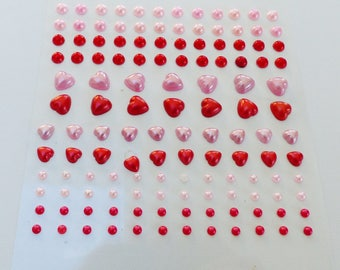 130 stickers half pearls and a half heart stickers red and Pink Pearl