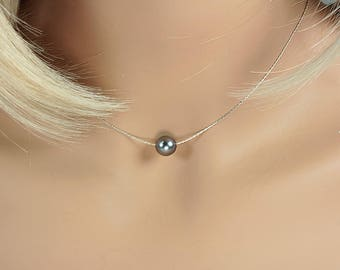 Floating Pearl Necklace, Tahitian Pearl, Grey Pearl Choker, South Sea Pearl, Unique Tahitian Pearl, Choker Grey Pearl, Floating Grey Pearl