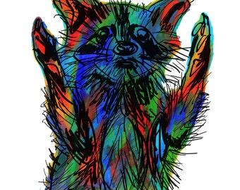 "Raccoon(4OG) Giclée Print - Cavanata - 8"" X 10"" Raccoon Graphic Fine Art Print, Original Illustration, Animal Art"