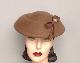 Saucer Cocktail Hat, Vintage Inspired Mocha Felt Saucer Styled hat with Crystal and Bow Trim