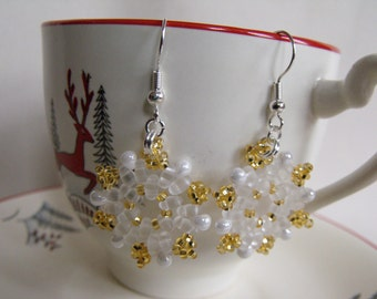 Hand Beaded Gold and Frosted Snowflake Earrings