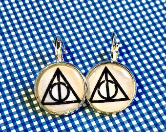 Harry Potter Deathly Hallows glass cabochon earrings - 16mm