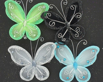 3 inch nylon organza wired decorative butterflies 12 pieces