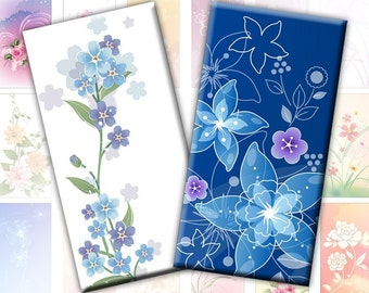 Colorful Flowers and swirls 1x2 inches rectangles digital collage sheet domino tile (189) Buy 3 - get 1 bonus