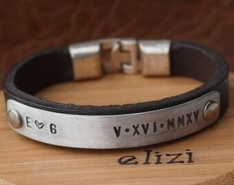 Engrave bracelet Gift for Men Bracelet Leather Man Leather Bracelet Personalized Leather Bracelet Coordinate Customized Gift for Men
