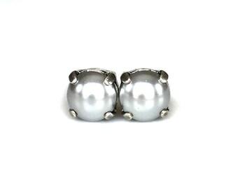 Pearl Stud Earrings - Silver Gray - Stud Earrings - 8mm Round
