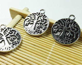 30Pcs Antique Silver Tree Of Life Charms ,Tree Of Life Pendants ,Tree Of Life Jewelry