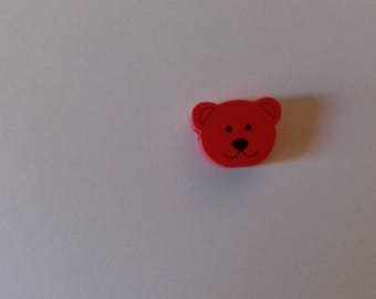 Wooden bear head bead