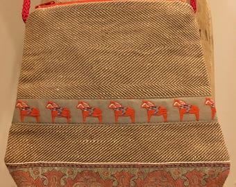 Dala horse ribboned bag