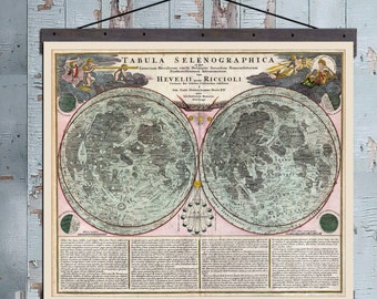 "Tabula Selenographica. Moon Chart 1742. Pull Down Map. 48""w x 36""h,  School Chart, Hanging Map, Antique Wall Map"