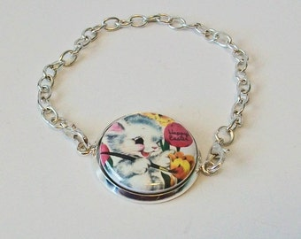 Unique Vintage Style White Easter Bunny Happy Easter Silver Chain Fashion Bracelet