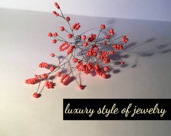 Hairpin   hair ornaments - coral hairpin ( luxury style of jewelry )