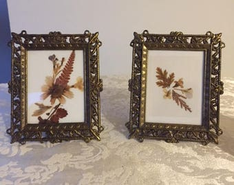 Set of 2 Ornate Bronze Metal Picture Frames with Dried Flowers 1990, Photo Frames, Vintage Home Decor, Picture Frames Made in Italy