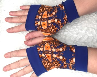 Fingerless gloves Royal blue with yellow flowers  all  sizes Completely Lined with Cuffs