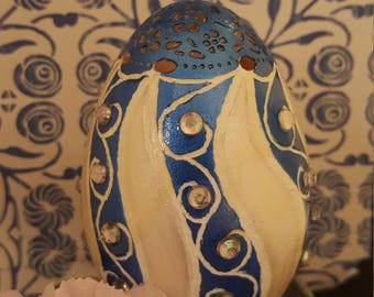 Carved/Handpainted Goose egg