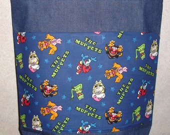 New Large Denim Tote Bag Handmade with Muppets Fabric
