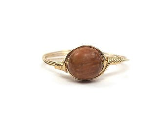 LG Bayong Wood Ring 14k Gold Fill Wire Wrapped Ring