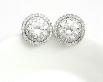 Crystal bridal earrings Wedding crystal earrings Crystal jewelry rhinestones earrings Bridesmaids earrings studs Bridal jewelry BJ016