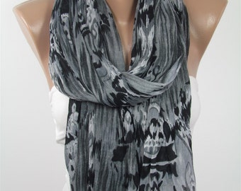 Mothers Day Gift For Her Gray Black Scarf Shawl Crinkle Cowl Scarf  Winter   Fashion Accessories Gift For Mom Holiday clothing gift
