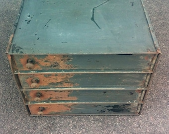 Vintage industrial 4 drawer metal movie theater film storage cabinet - PICK UP ONLY